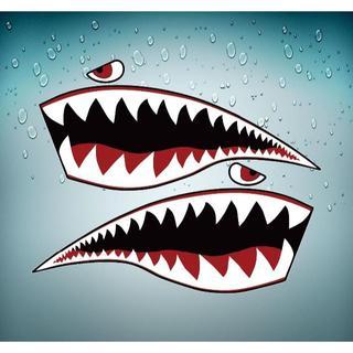 【新品】サメ アートステッカー シール デカール  防水 高品質 2枚(ステッカー)