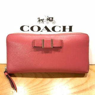 コーチ(COACH)のコーチ ラウンドファスナー 長財布 リボン(財布)