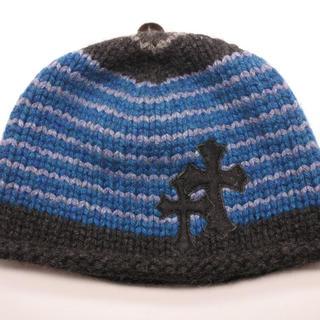 クロムハーツ(Chrome Hearts)のクロムハーツ ニット帽 ビーニー カシミア100% バイカラー ブルー グレー (ニット帽/ビーニー)