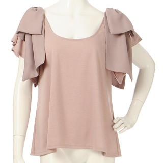 ラベルエチュード(la belle Etude)のラベルエチュード*肩BIGリボンカットソー ピンク(カットソー(半袖/袖なし))