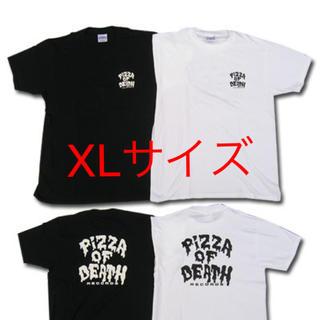 ハイスタンダード(HIGH!STANDARD)のPIZZA OF DEATH  ピサ オブ デス Tシャツ  白 黒 XLサイズ(ミュージシャン)