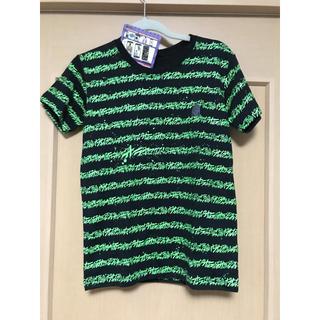 バンダイ(BANDAI)のジョジョの奇妙な冒険 オラオラボーダー グリーン Tシャツ メンズSサイズ (Tシャツ/カットソー(半袖/袖なし))