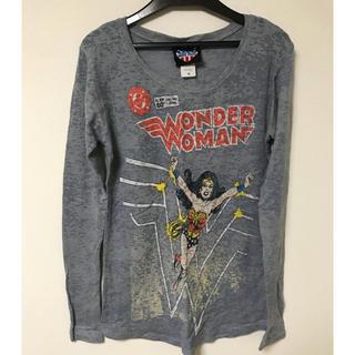 ジャンクフード(JUNK FOOD)のジャンクフード ロンT ワンダーウーマン スーパーマン グレー トップス(Tシャツ(長袖/七分))