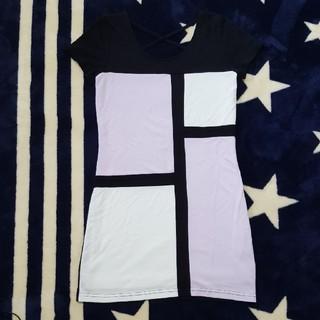 ヴイジーピンクミックス(VG / PinkMix)のギャル系☆Vanity半袖紫ブロッキングワンピース Rady風(ミニワンピース)