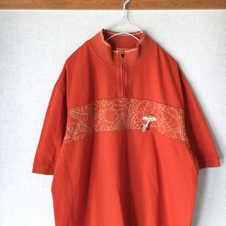 ★1000円セール★古着 ハーフジップ ポロシャツ オレンジ 刺繍