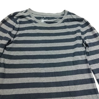MUJI (無印良品) - MUJI ボーダー 長袖Tシャツ 黒 グレー