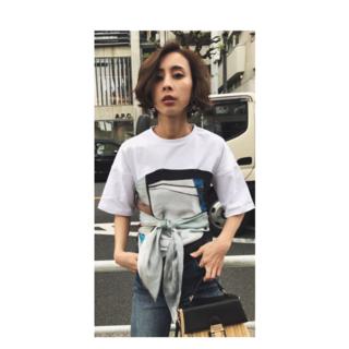 アメリヴィンテージ(Ameri VINTAGE)のMEDI DRAWING UNEVEN TEE(Tシャツ(半袖/袖なし))