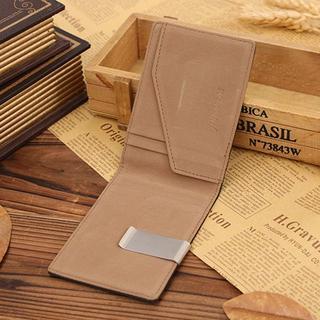 新品 マネークリップ スリム カード ケース 財布 ウォレット 茶 ブラウン(マネークリップ)