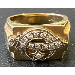 フリーメイソン シュライナー K14 ダイヤモンド 13石 ピンキーリング 9号(リング(指輪))