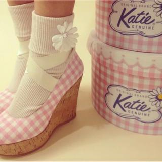 ケイティー(Katie)の♡katie 牛革 ギンガムチェックウェッジソール♡(ハイヒール/パンプス)