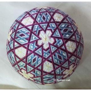 絹てまり「星かがりの梅」白地、赤紫、青 手まり 手毬 手鞠(その他)