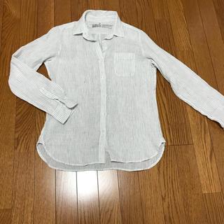 ムジルシリョウヒン(MUJI (無印良品))の未使用 リネンシャツ ピンストライプ 白(シャツ/ブラウス(長袖/七分))