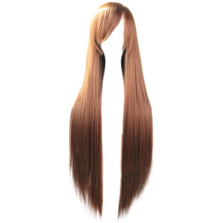 80cm レディース ウィッグ フルウィッグ ロング ストレート 前髪斜め(ロングストレート)