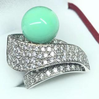 1264 トルコ石 ダイヤモンド2.00ct ホワイトゴールド リング 14号(リング(指輪))