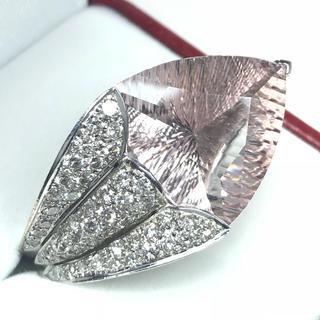 1265 モルガナイト14.34ctダイヤモンド ホワイトゴールドリング 14号(リング(指輪))