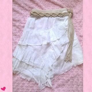 リズリサ(LIZ LISA)の春夏♥ベルト付アシメコットンスカート♡L(ひざ丈スカート)