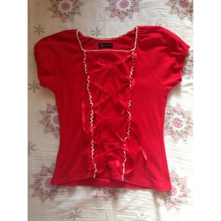 ハートイー(Heart E)の半袖トップス(深紅、微妙にロリータ)(シャツ/ブラウス(半袖/袖なし))