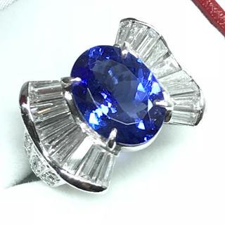 1266 タンザナイト 4.91ct ダイヤモンド プラチナリング 14号(リング(指輪))