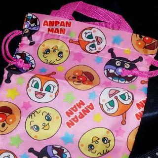 アンパンマン(アンパンマン)のアンパンマン 巾着バッグ ピンク たっぷり size でとっても便利♪(トートバッグ)
