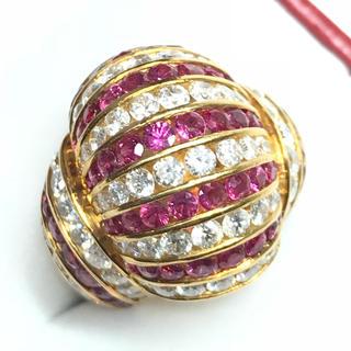 1268 ダイヤモンド3.70ct ルビー3.16ct ゴールドリング 12号(リング(指輪))