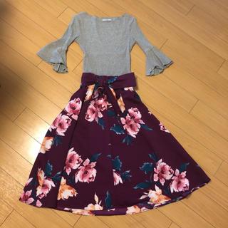 シマムラ(しまむら)のカットソー&花柄スカート2点セット新品未使用(セット/コーデ)