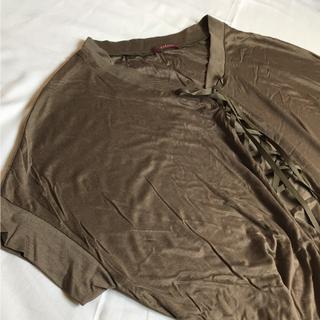 アマカ(AMACA)のレーヨン混サマーセール開催中!レースの編み上げTシャツ サイズ38  アマカ(Tシャツ(半袖/袖なし))