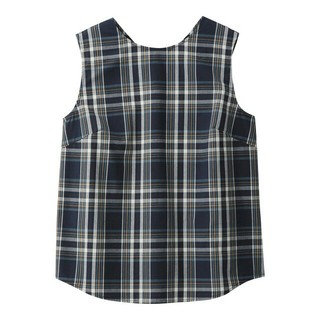 ジーユー(GU)のGU 今季チェックバックボタンブラウス ネイビー 未使用品 S(シャツ/ブラウス(半袖/袖なし))