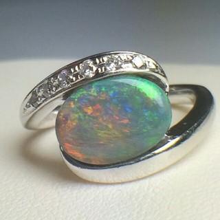 稀少❗天然ブラックオパールとダイアモンドのリング(リング(指輪))