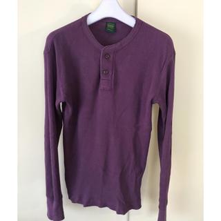 ユニクロ(UNIQLO)の【送料無料】UNIQLO ワッフルサーマルシャツ パープル メンズS(Tシャツ/カットソー(七分/長袖))