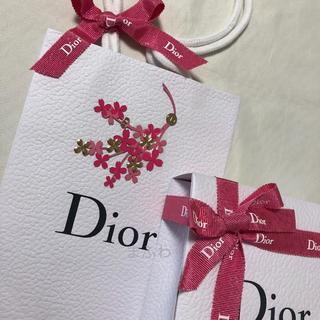 ディオール(Dior)のディオール 限定 ピンク お花のシールつき ラッピング セット ギフトボックス(ラッピング/包装)