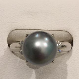 鑑別書付 超美品 Pt900 黒蝶 真珠 ダイヤ入り リング 18I-28(リング(指輪))