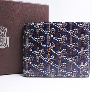 detailing 0ce52 6e1a9 ゴヤール 二つ折り財布 サイフ ネイビー オーダー色 美品 箱付き メンズ 小銭