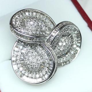 1275 ダイヤモンド 3.45ct WGK18 ホワイトゴールドリング 12号(リング(指輪))