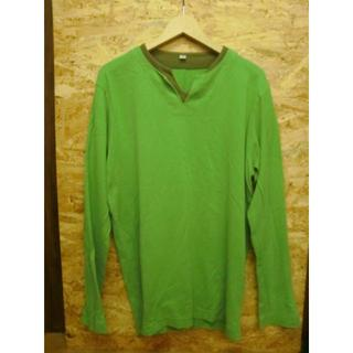 ユニクロ(UNIQLO)の【UNIQLO/ユニクロ】グリーン×カーキ 重ね着風カットソー Mサイズ(Tシャツ/カットソー(七分/長袖))