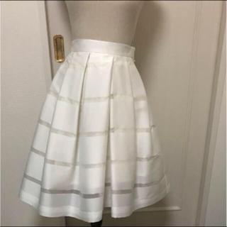 ルシェルブルー(LE CIEL BLEU)のLE CIEL BLUEの白のスカート(ひざ丈スカート)