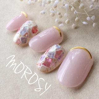 新作☆送料込MOROSY55☆モザイク タイル ステンドグラス 夏 ピンクネイル