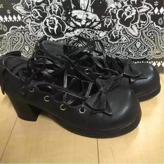 ボディライン(BODYLINE)のメイド靴 ロリータ靴☆編上げ&バックリボン☆(靴/ブーツ)