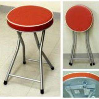 丸椅子折りたたみパイプ椅子 背無 赤(No.00155)