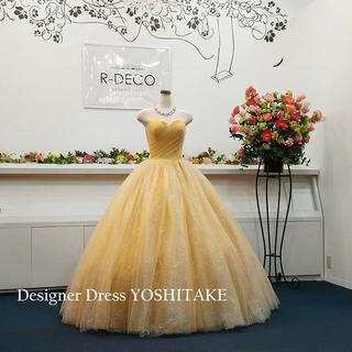ウエディングドレス(パニエ無料) シンプルゴールド 披露宴/二次会用(ウェディングドレス)