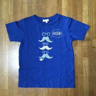 サンカンシオン(3can4on)の3can4on プリントTシャツ 120cm ブルー ヒゲマーク(Tシャツ/カットソー)