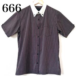 シックスシックスシックス(666)の666 ロンドンストライプ 半袖シャツ ボタンダウン M(シャツ)