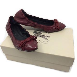 バーバリー(BURBERRY)のBURBERRY Bow Detail Brogue バレリーナ フラット 靴(バレエシューズ)