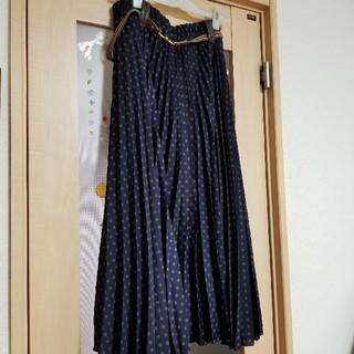 アズノゥアズオオラカ(AS KNOW AS olaca)のお値下げ 大きいサイズ ドットプリーツスカート(ロングスカート)