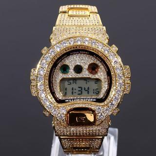カシオ(CASIO)のフルカスタムG-SHOCK DW6900  18K GOLD 大粒CZダイヤ(腕時計(デジタル))