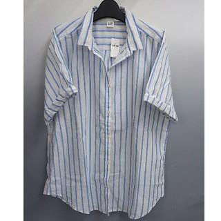 ギャップ(GAP)の新品 GAP 半袖ストライプシャツ・ブルー・M(シャツ/ブラウス(半袖/袖なし))