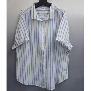 ギャップ(GAP)の新品 GAP 半袖ストライプシャツ・ブルー・L(シャツ/ブラウス(半袖/袖なし))