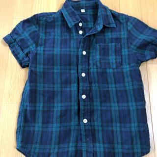 ムジルシリョウヒン(MUJI (無印良品))の無印良品 麻素材チェックシャツ 130(ブラウス)
