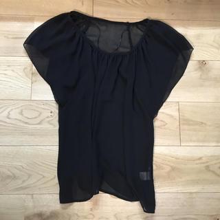 ジーユー(GU)のGU  シースルーブラウス ブラック(シャツ/ブラウス(半袖/袖なし))