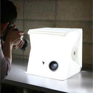 LED照明内蔵 折りたたみ 撮影ボックス 出品者必携グッズ 送料無料(ストロボ/照明)