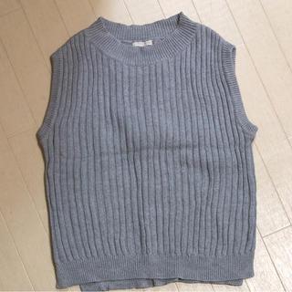 ジーユー(GU)のGU  ニットタンクトップ グレー S(カットソー(半袖/袖なし))